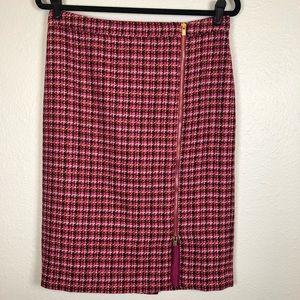 Talbots pink red asymmetrical front zip skirt 8